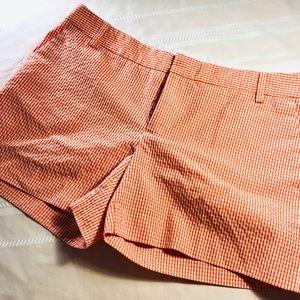 Zara Basic Orange and White Plaid Shorts